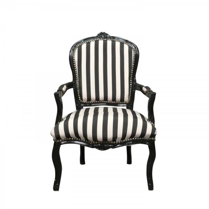 fauteuil louis xv avec des rayures noires et blanches. Black Bedroom Furniture Sets. Home Design Ideas