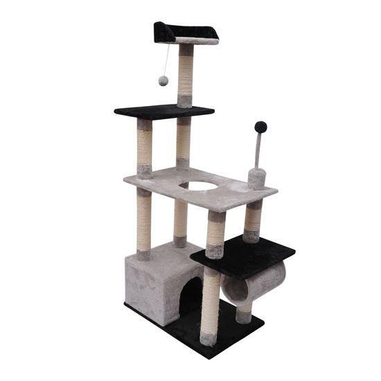 arbre chat gris et noir achat vente arbre chat arbre chat soldes d. Black Bedroom Furniture Sets. Home Design Ideas