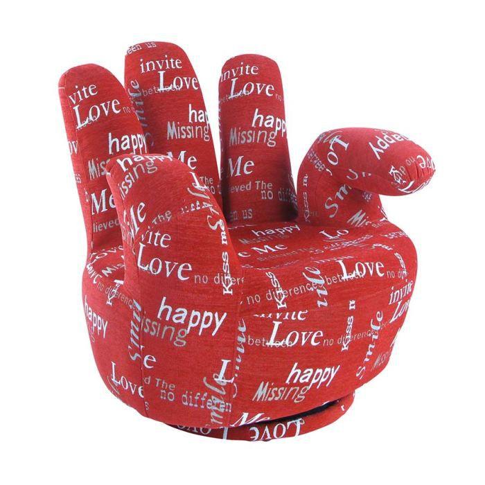 fauteuil main en tissu love rouge achat vente fauteuil rouge cdiscount. Black Bedroom Furniture Sets. Home Design Ideas