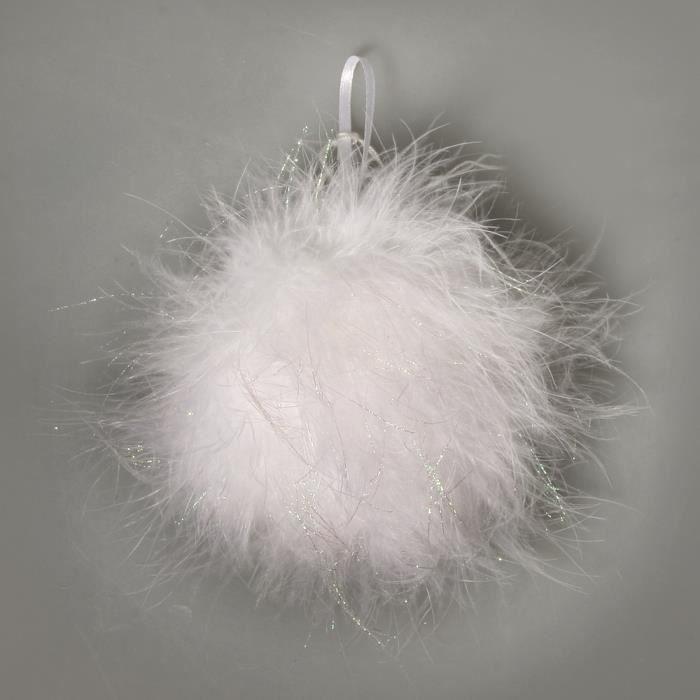 Boule D Co Plume Et Paillette 6 Cm Blan Achat Vente Boule De No L Plume Cadeaux
