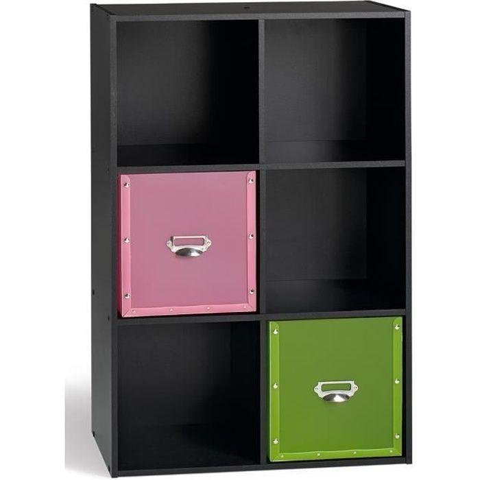 Compo cube 6 cases noir achat vente petit meuble for Meuble cube 6 cases