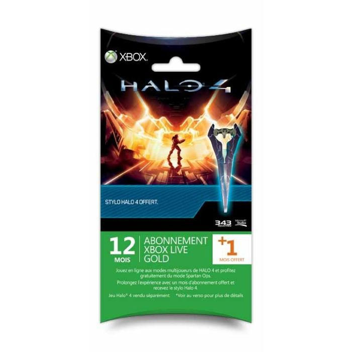PACK ACCESSOIRE XBOX LIVE GOLD 12 + 1 MOIS OFFERT + STYLO HALO 4