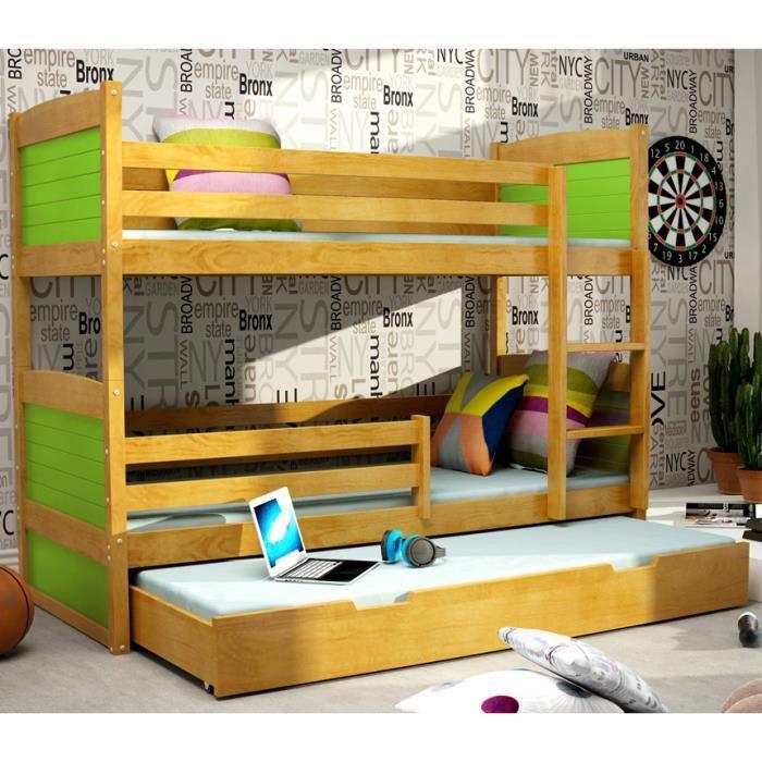 lit superpos rico 3 en pin 160x80 aulne achat vente lits superposes lit superpos rico 3. Black Bedroom Furniture Sets. Home Design Ideas
