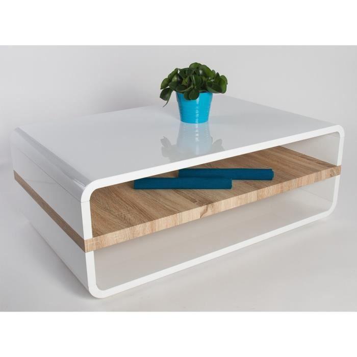 Table basse design blanche laqu e et plateau en bois de ch ne emily blanc a - Table basse laquee blanc et bois ...