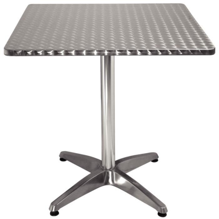 Table bistro carr e en acier inox 70 cm achat vente - Table en aluminium ...