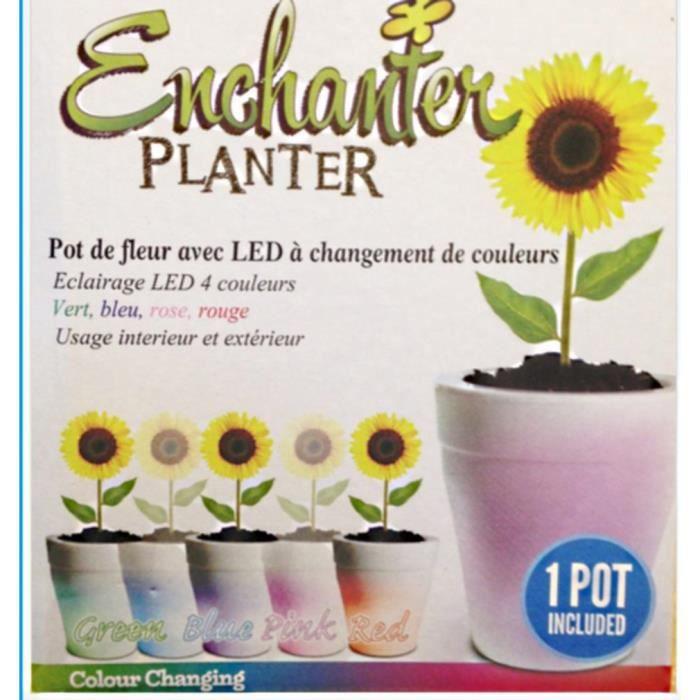 pot de fleur led lumineux variation de couleur 17 x 19 cm jardinage achat vente pot de fleur. Black Bedroom Furniture Sets. Home Design Ideas