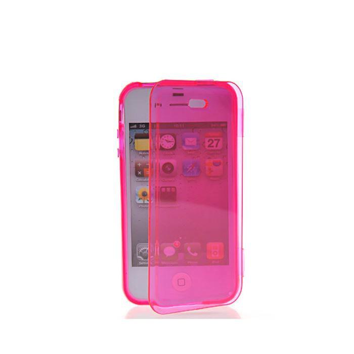 Coque gel rabat rose apple iphone 4s achat vente coque for Coque cdiscount