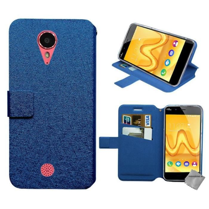 Housse etui portefeuille pour wiko tommy verre trempe for Housse wiko tommy 2