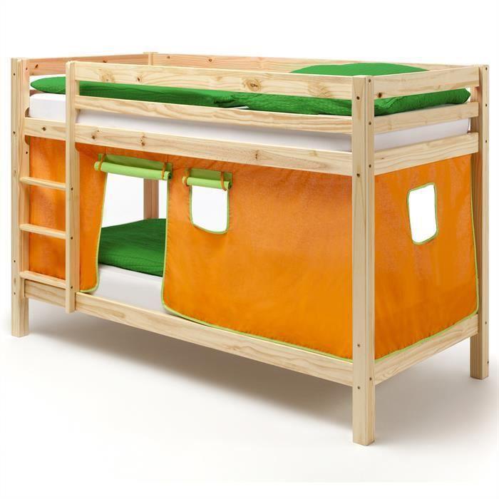 Lits superpos s en pin naturel max rideaux orange achat vente lits superp - Lits superposes en l ...