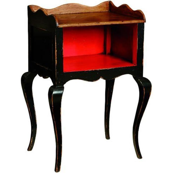 Table de chevet r gence noir vieilli int rieur achat - Table de chevet rouge ...