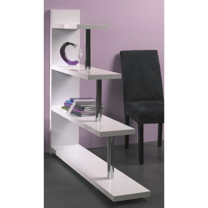 etag re en tube d 39 acier coloris blanc dim l achat vente meuble tag re etag re en tube d. Black Bedroom Furniture Sets. Home Design Ideas