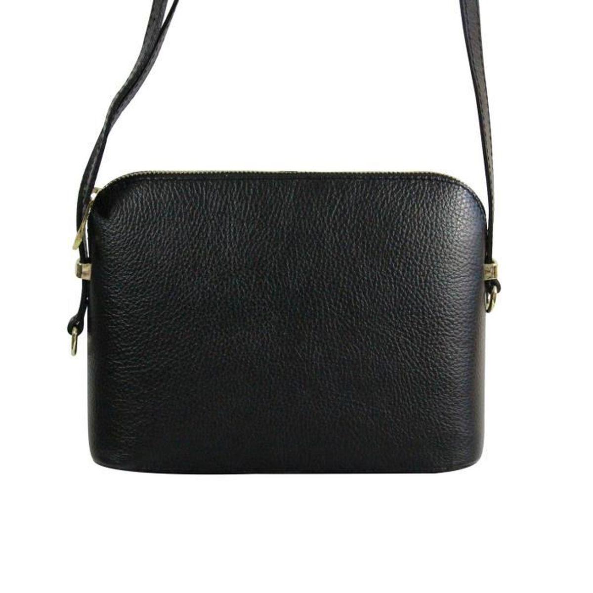 Petite besace sacoche noir en cuir v ritable avec nombreuses poches et bandouli re noir achat - Verlicht en cuir noir ...
