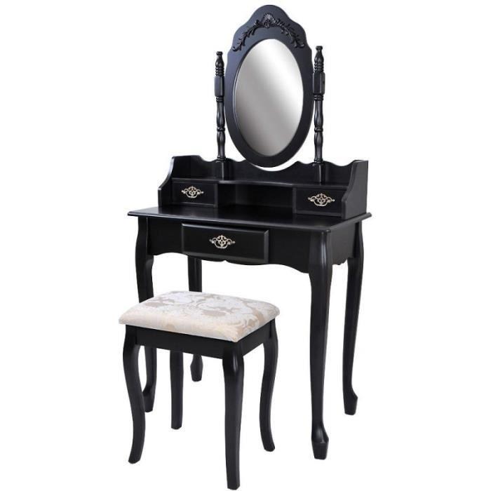 Coiffeuse bois noir miroir tabouret 1401016 achat vente coiffeuse coiffeu - Coiffeuse meuble noir ...