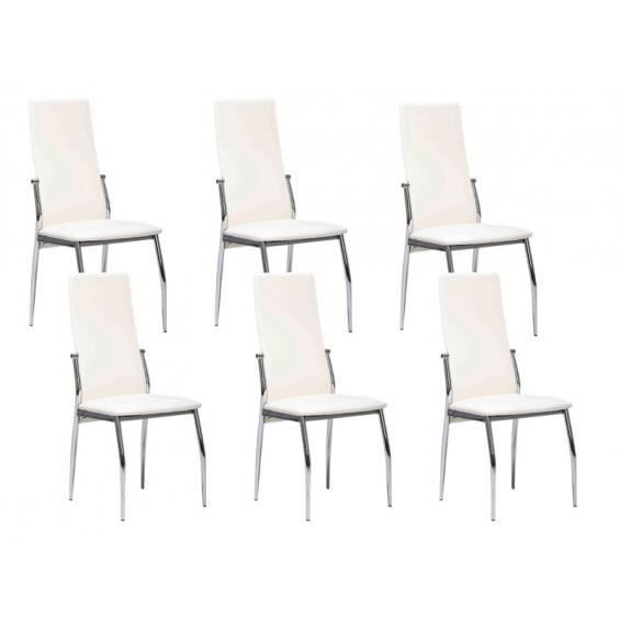 City lot 6 chaises blanches achat vente chaise - 6 chaises blanches ...