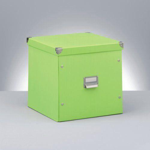 zeller 17636 boite de rangement en carton vert 33 5 x 33 x 32 cm achat vente petit meuble. Black Bedroom Furniture Sets. Home Design Ideas