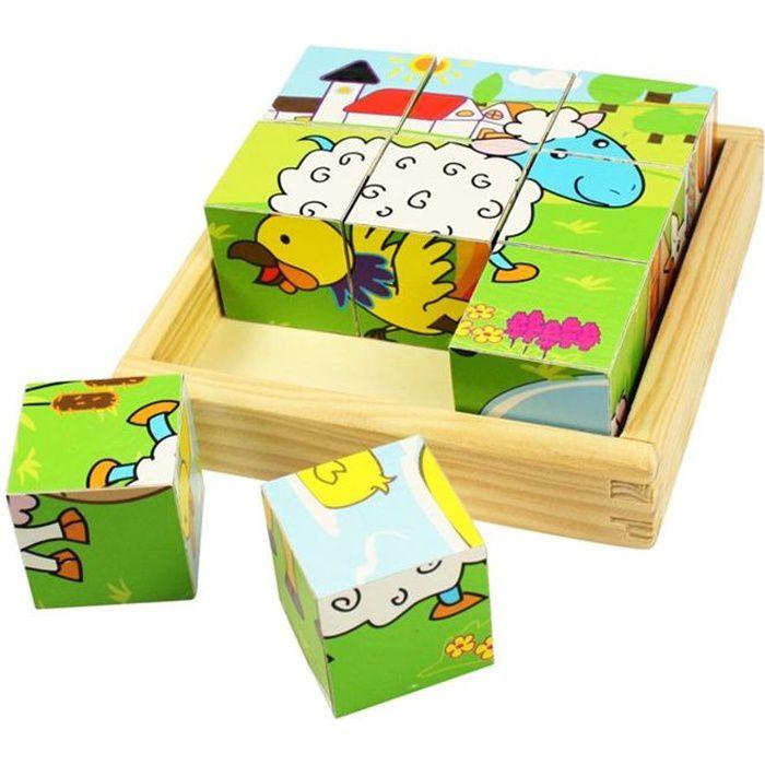 bigjigs puzzle bois 9 cubes animaux achat vente puzzle. Black Bedroom Furniture Sets. Home Design Ideas