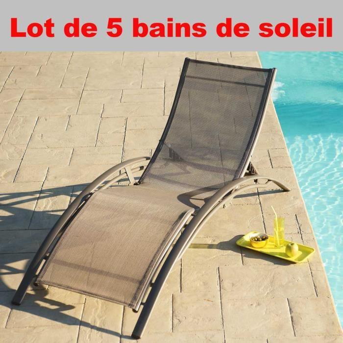 lot de 5 chaises longues bain de soleil en aluminium et. Black Bedroom Furniture Sets. Home Design Ideas
