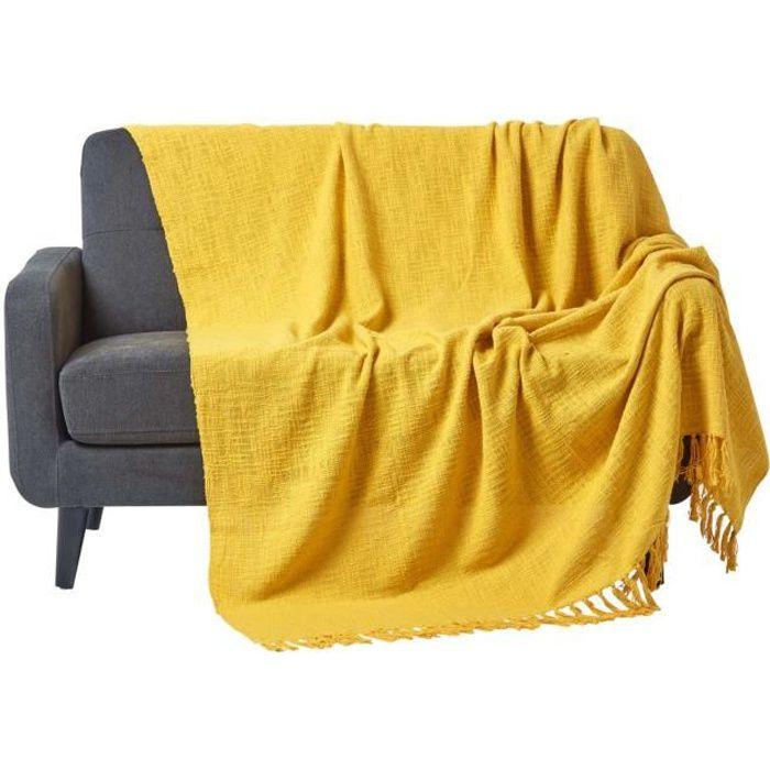 jet de lit ou de canap nirvana 100 coton jaune ocre 150 x 200 cm achat vente jet e de lit. Black Bedroom Furniture Sets. Home Design Ideas