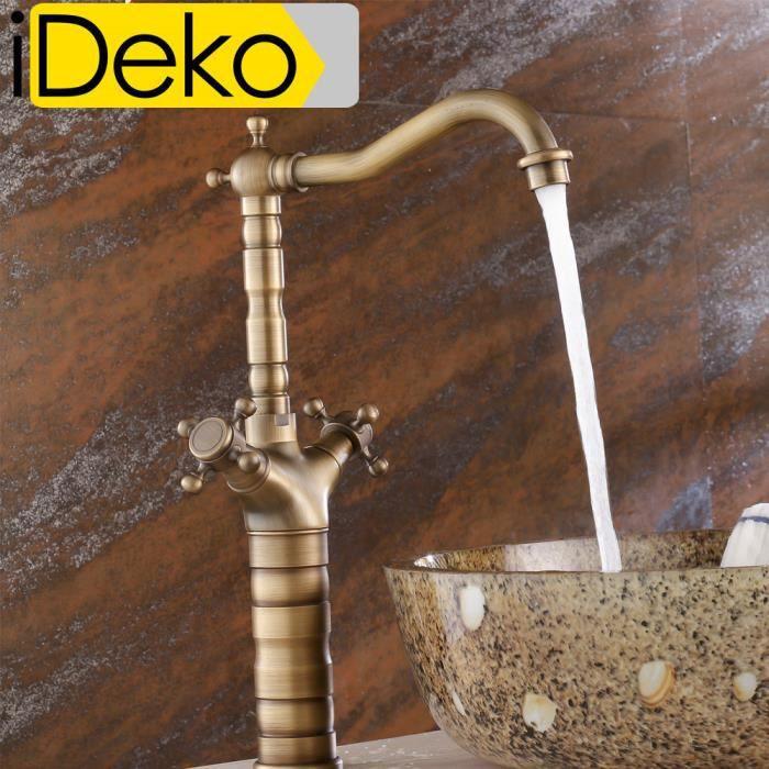 Ideko robinet mitigeur lavabo salle de bain et cuisine vasque en laiton style japonais r tro - Mitigeur lavabo salle de bain ...