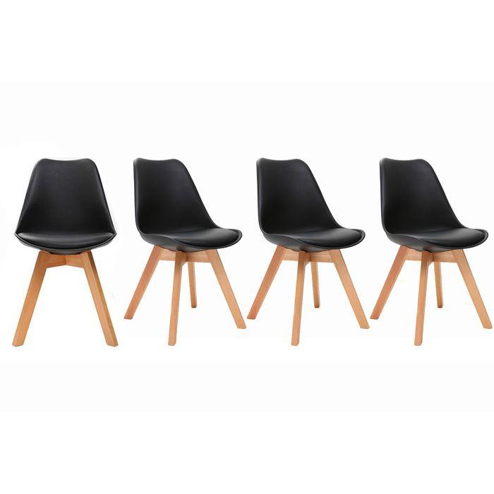 Chaise design noire lot de 4 pauline achat vente for Lot de 6 chaises design