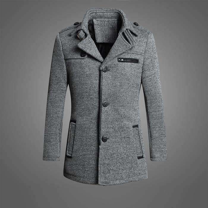 manteau homme caban homme blouson duffle coat grey achat vente manteau caban cdiscount. Black Bedroom Furniture Sets. Home Design Ideas