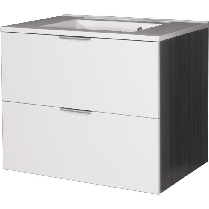 Meuble sous lavabo avec 2 tiroirs l77 x h64 x achat for Meuble avec nombreux tiroirs