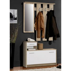 Foxi vestiaire penderie blanc ch ne 97x180 cm achat vente meuble d 39 en - Penderie entree maison ...