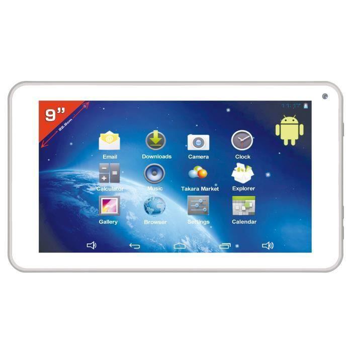 destockage takara tablette 9 blanche tablette tactile au meilleur prix les soldes sur. Black Bedroom Furniture Sets. Home Design Ideas