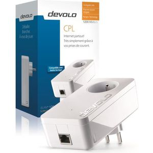 devolo 9370 dLAN 1200+, Prise réseau CPL 1200 Mbit/s, 1 port Gigabit Ethernet, Prise Filtrée Intégrée, Module complémentaire (x1)