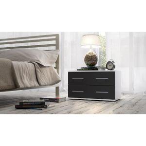 chevet lit noir et blanc achat vente chevet lit noir et blanc pas cher cdiscount. Black Bedroom Furniture Sets. Home Design Ideas