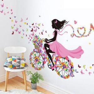 papier peint personnalits fille papillon fleurs art decal stic - Papier Peint Fille