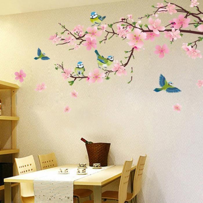 3d rose fleur avec vert oiseaux stickers muraux salon With chambre bébé design avec rose fleur prix