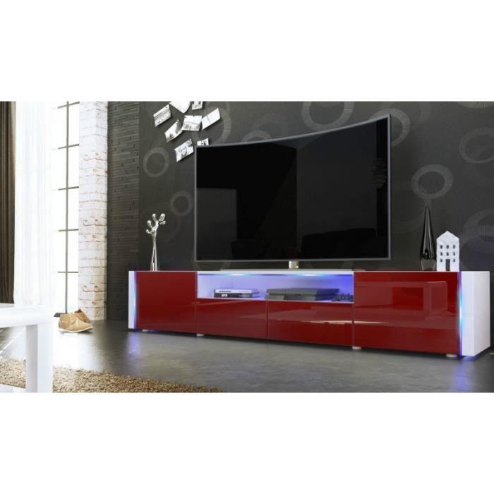 meuble tv bas blanc bordeaux 205 cm achat vente. Black Bedroom Furniture Sets. Home Design Ideas