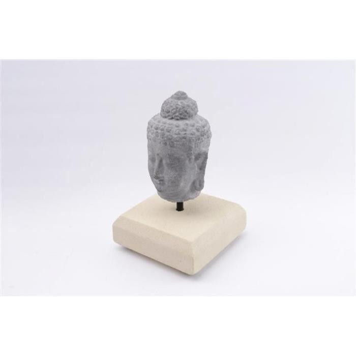 statuette t te de bouddha en pierre de java grise h16cm magnifique t te de bouddha sur pied. Black Bedroom Furniture Sets. Home Design Ideas