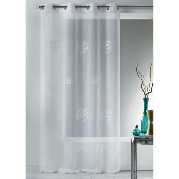 home maison hm6951398 voilage petits poissons etamine brod e polyester blanc 140 x 260 cm. Black Bedroom Furniture Sets. Home Design Ideas