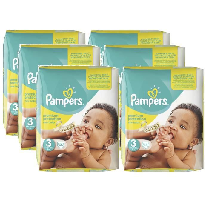 Pampers new baby taille 3 midi 4 9kg 210 couches achat vente couche 2009933648370 cdiscount - Couches pampers new baby taille 3 ...