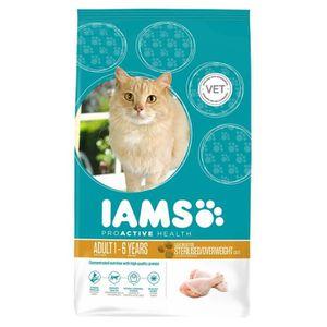 IAMS Croquettes au poulet - Toutes races - Stérilisé - 10kg - Pour chat adulte