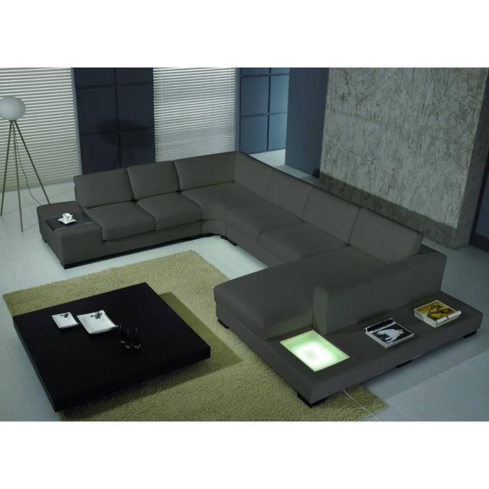 Canap cuir d 39 angle denver gris cuir pvc gauche achat vente canap - Canape angle gauche cuir ...
