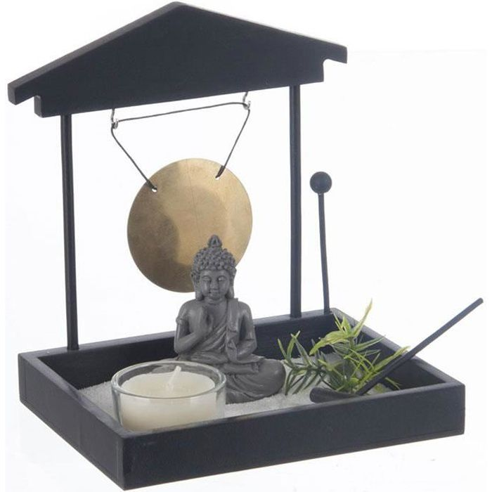 jardin zen japonais bouddha avec sable gong photophore achat vente objet d coratif. Black Bedroom Furniture Sets. Home Design Ideas