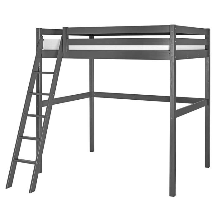 lit mezzanine 2 personnes 140x200 pin massif gris anthracite achat vente lit mezzanine. Black Bedroom Furniture Sets. Home Design Ideas