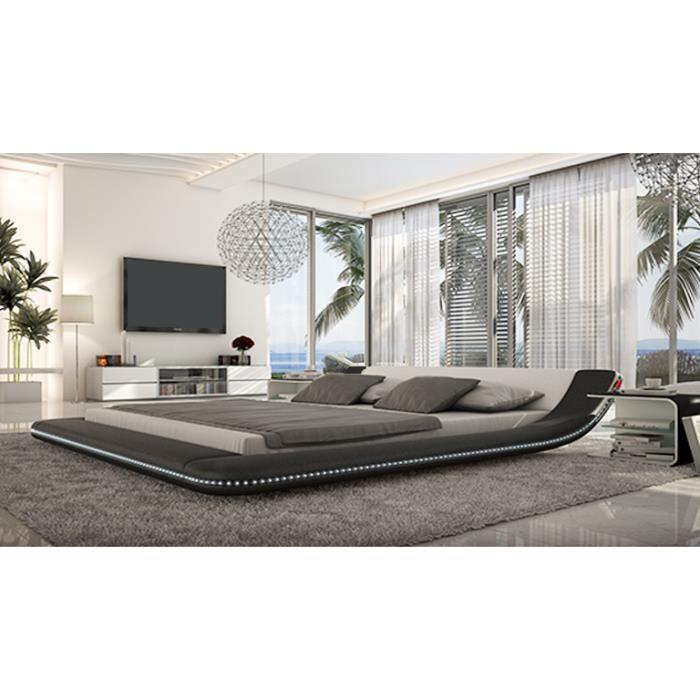 lit cuir pilow lit design en cuir clairage led avec sommier 140 x 190 cm achat vente. Black Bedroom Furniture Sets. Home Design Ideas