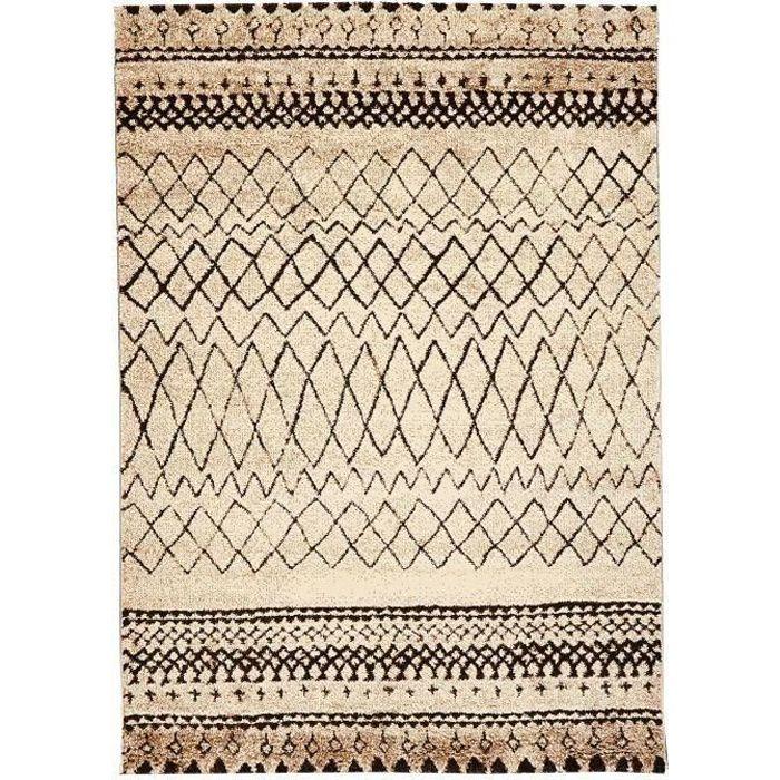 Nazar tapis de salon marokko beige et noir achat vente for Tapis de salon gris et beige