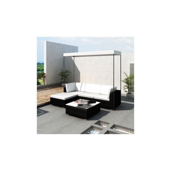Canap de jardin en r sine tress e noir avec toit achat for Canape de jardin resine