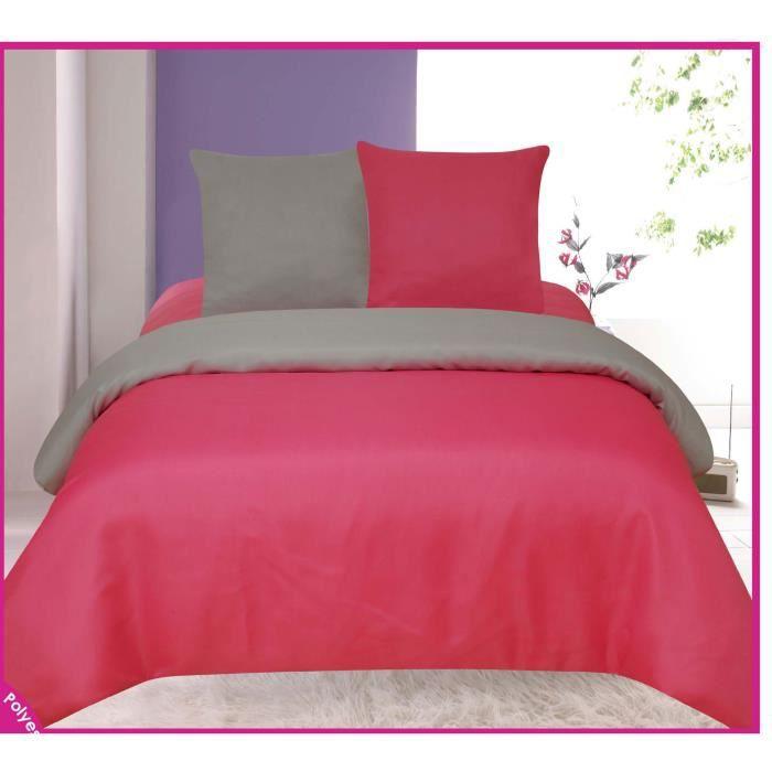parure de draps fuchsia et gris bicolore tendre nuit 2 plac. Black Bedroom Furniture Sets. Home Design Ideas