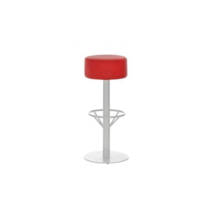 Tabouret simili cuir cadre blanc rouge 76cm achat vente tabouret cdi - Tabouret simili cuir ...