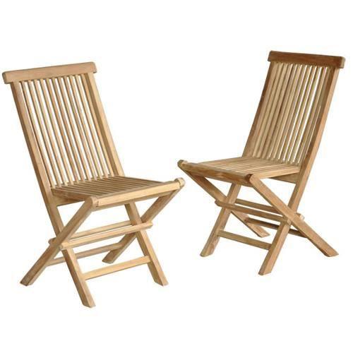 lot de 2 chaises de jardin en teck brut qualite achat. Black Bedroom Furniture Sets. Home Design Ideas