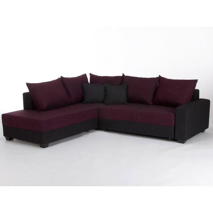 Ce Canap D 39 Angle En Tissu Noir Et Violet Est Livr Avec 5