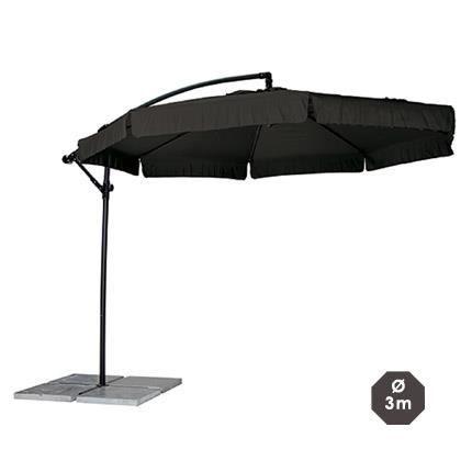 Parasol d port rond diam tre 3m coloris noir achat vente parasol omb - Parasol deporte soldes ...