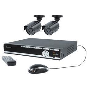 Jeu de cam ras de surveillance avec enregistrement quip for Surveillance exterieure avec enregistrement