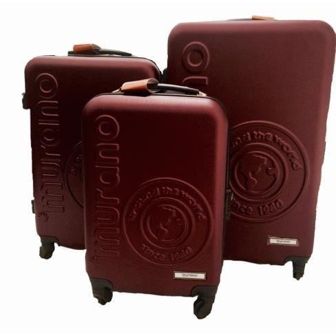 lot de 3 valises murano bordeaux rouge achat vente set de valises 2009921243372 cdiscount. Black Bedroom Furniture Sets. Home Design Ideas
